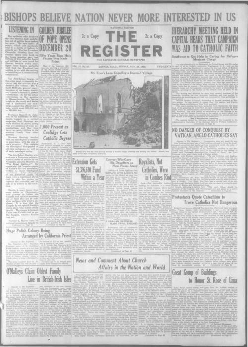 The Register is a part of the Denver Catholic Register, Two issues of The Register stored together.