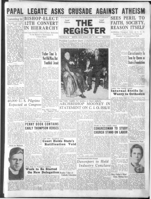 part of the Denver Catholic Register. October 10, 1937 edition missing