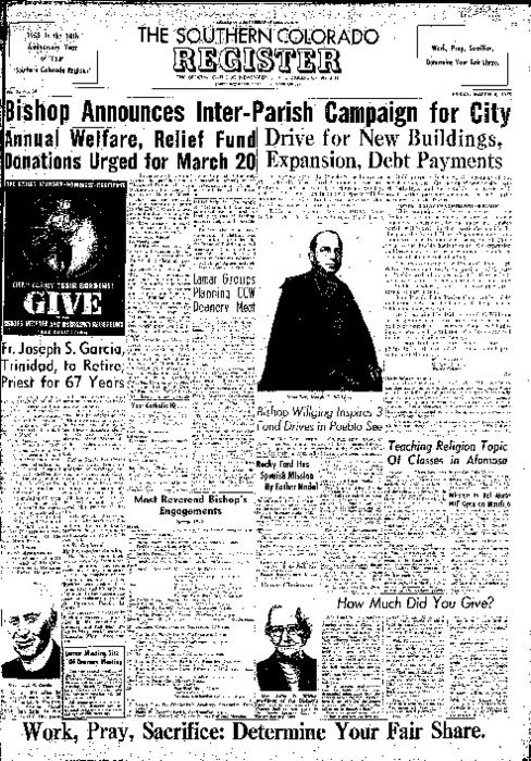 This is the newspaper of the Diocese of Pueblo.  Contains issues March 4, 1955, March 11, 1955, March 18, 1955 and March 25, 1955