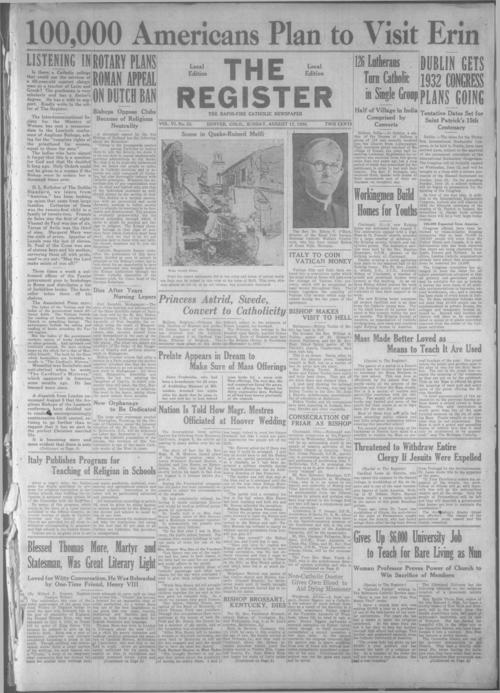 The Register is a part of the Denver Catholic Register, Two issues stored together.
