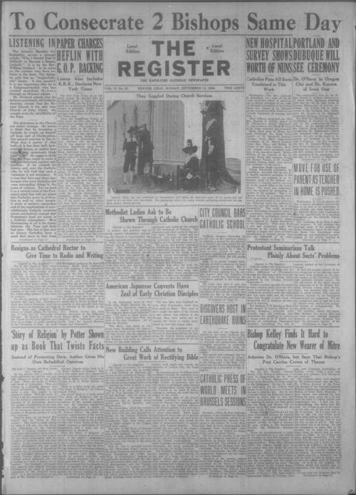 The Register is a part of the Denver Catholic Register., Two issues stored together.