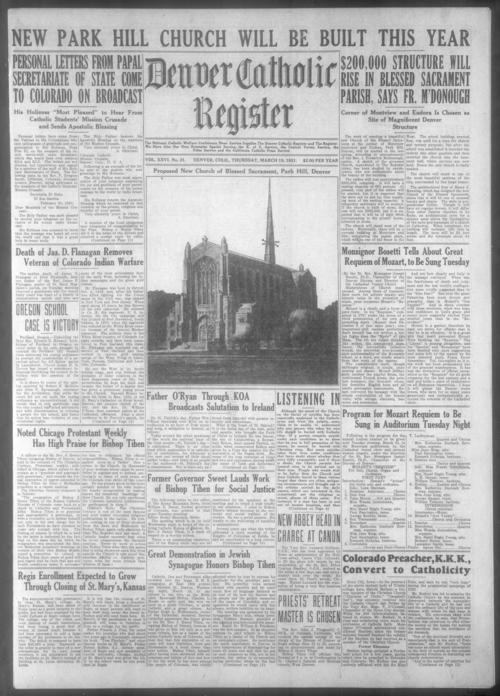 This is the newspaper of the Diocese of Denver.  March 26, 1931 issue missing