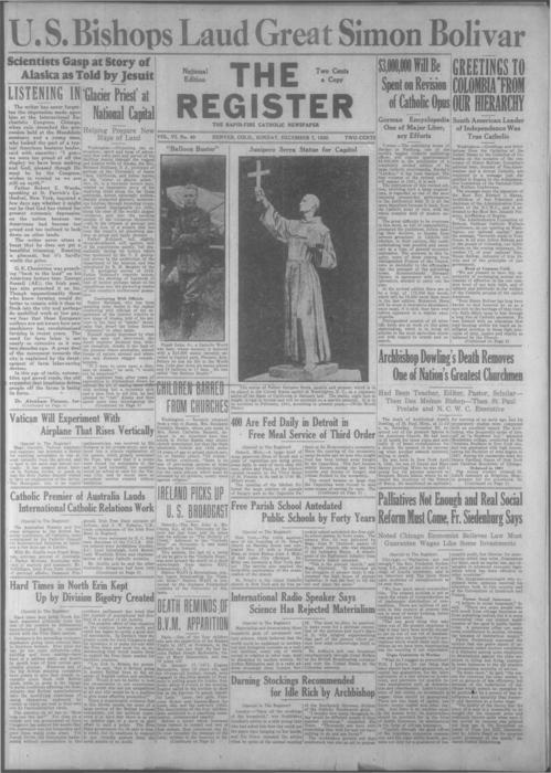 The Register is a part of the Denver Catholic Register, Two issues stored together
