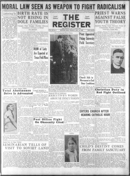 part of the Denver Catholic Register.  January 5, 1936 edition missing