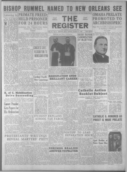 part of the Denver Catholic Register.  March 10, 1935 issue is missing