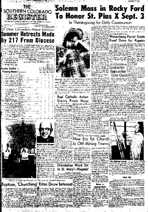 This is the newspaper of the Diocese of Pueblo.  Contains issues September 2, 1955, September 9, 1955, September 16, 1955, September 23, 1955 and September 30, 1955