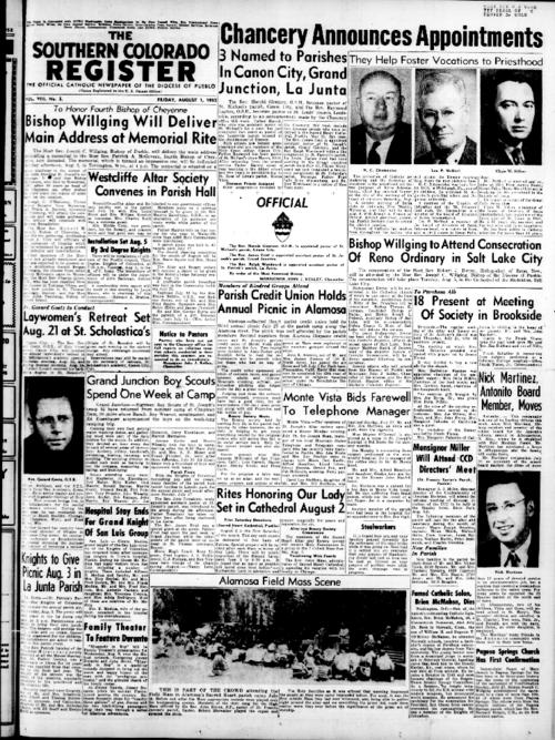 This is the newspaper of the Diocese of Pueblo.  Contains issues August 8, 1952, August 15, 1952, August 22, 1952 and August 29, 1952
