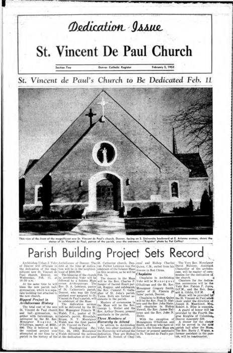 St. Vincent de Paul Church dedication supplement