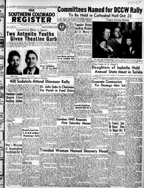 This is the newspaper of the Diocese of Pueblo.  Contains issues October 6, 1950, October 13, 1950, October 20, 1950 and October 27, 1950
