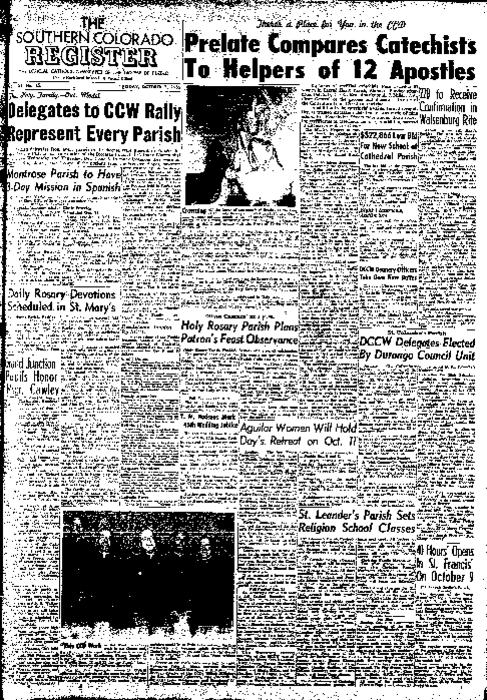 This is the newspaper of the Diocese of Pueblo. Contains issues October 7, 1955, October 14, 1955, October 21, 1955 and October 28, 1955
