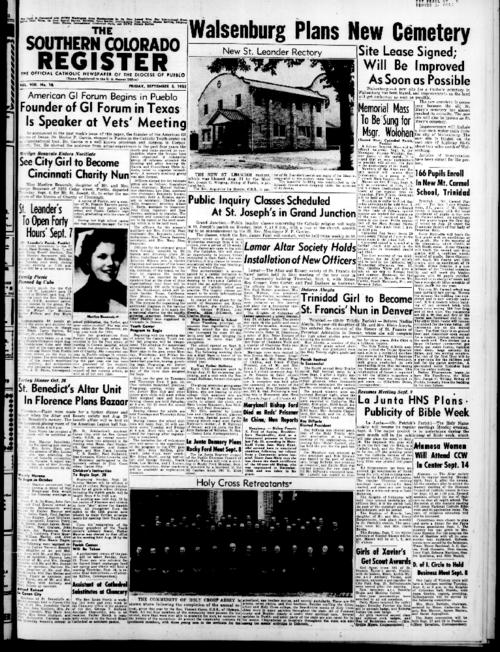 This is the newspaper of the Diocese of Pueblo.  Contains issues September 5, 1952, September 12, 1952, September 19, 1952 and September 26, 1952