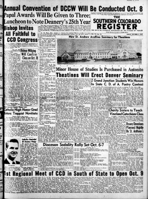 This is the newspaper of the Diocese of Pueblo.  Contains issues October 5, 1951, October 12, 1951, October 19, 1951, October 26, 1951