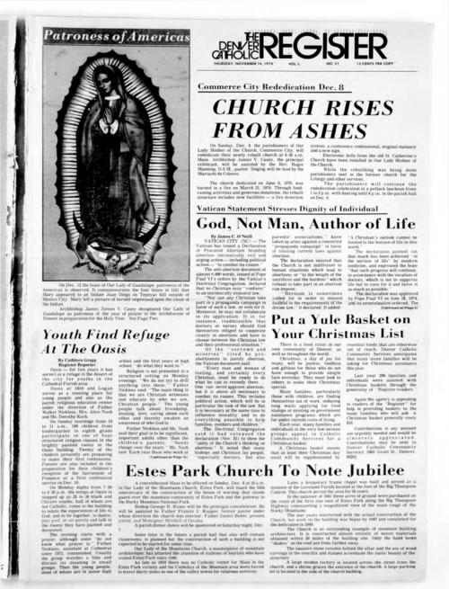 This is the newspaper of the Archdiocese of Denver. This edition has the wrong date on the masthead